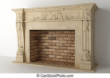 Fireplace in the light interior of home - Respectable...