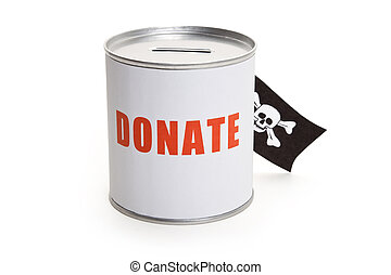 Donation Box and Pirate Flag, concept of financial Crime