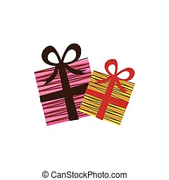 color boxes gifs with ribbon icon, vector illustraction...