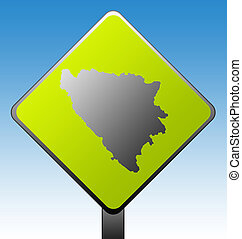 Bosnia and Herzegovina road sign - Black silhouetted map of...