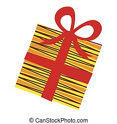 yellow box gift with red ribbon