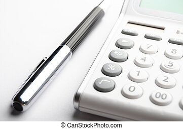 accounting concept with calculator and pen in business...