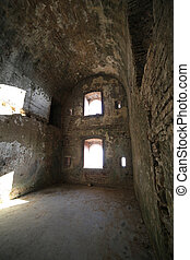 wide room of the ruins of an ancient fort used by soldiers...