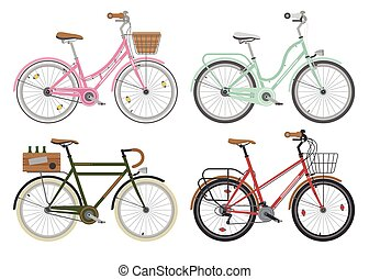 Configurations of city street bicycles. Vector. - Four...