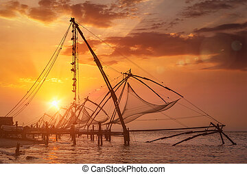 Chinese fishnets on sunset. Kochi, Kerala, India - Kochi...