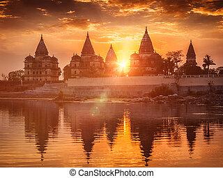 Royal cenotaphs of Orchha, Madhya Pradesh, India - View of...