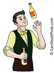 Bartender - The barman in a green waistcoat and yellow...