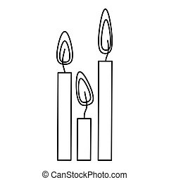 silhouette canddles with fire icon