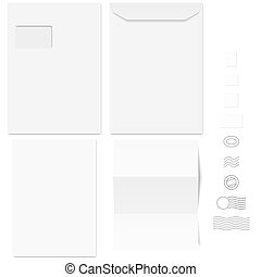 envelopes and postage stamps - collection of white standard...