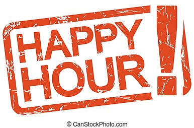 red stamp with text Happy Hour - grunge stamp with frame...
