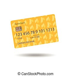 Cashless credit card calculation and orange yellow realistic...