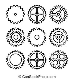 Vector Clock Gears. Outline Icons Set Clock Or Machine Wheel Mechanism. Mechanical, Technology Sign Isolated On White Background.