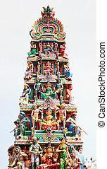 Sri Mariamman hindu temple - Closeup panorama of Sri...