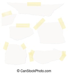 scraps of paper with tape - Collection of white scraps of...