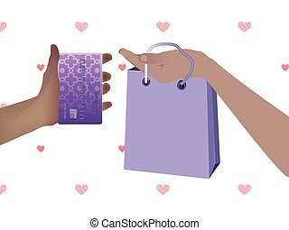 Concept of purchase non-cash settlement. Hand holding a...