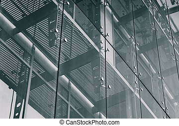 Architecture Background. Glass facade system - Black and...