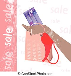 Concept of buying cashless settlement. Hand holding a credit...