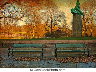 Autumn Park - The park in the center of Oslo, Norway on an...