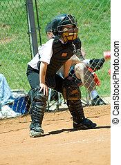 jovem, basebol, apanhador