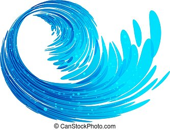 Wave splash - Blue wave isolated on white background, water...