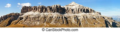 Sella Gruppe and Piz Boe, Dolomites mountains, Italy -...
