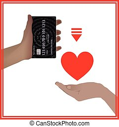 Concept bank card sale love prostitution heart