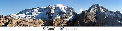 Marmolada, the highest mount of Dolomites mountains - View...