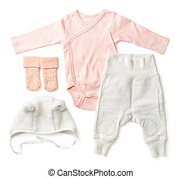 Set of pink baby clothes, from above