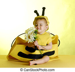 baby dressed up like a bee - one year old child dressed up...