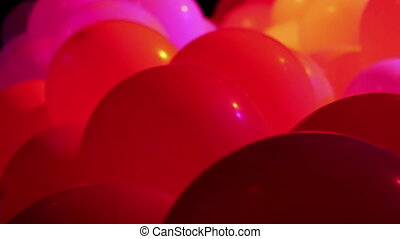 Celebration balloons and flashing lights
