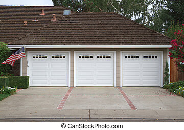Three car garage flag - Beige three ar garage with white...