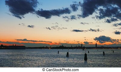 Panorama Night in Venice with channels and silhouettes of...