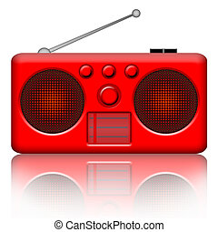 Radio - Red radio stereo receiver over white background