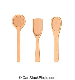 Wooden spoons Collection. realistic. - Wooden spoons...