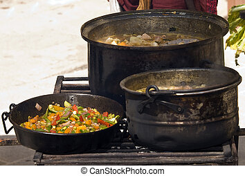 Fry and Simmer - A mixed pan of fresh vegetables and...