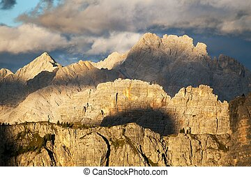 Evening view from alps dolomites mountains - Evening view...