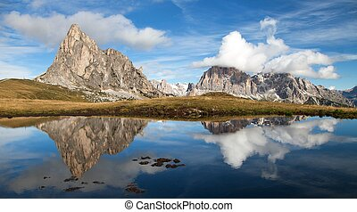 View from passo Giau, mountain lake, Dolomites mountains -...