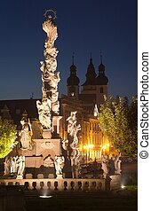 Plague Column on the main square of Telc or Teltsch town -...