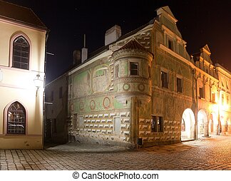 Night view of Telc or Teltsch town square, Czech republic....