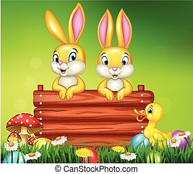 Cartoon little bunny with wooden sign