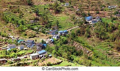 Kharikhola village, Nepalese Himalayas mountains