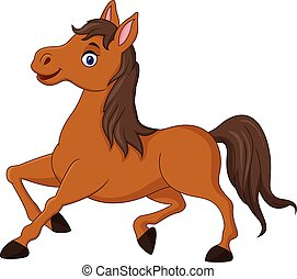 Cartoon brown horse running - Vector illustration of Cartoon...