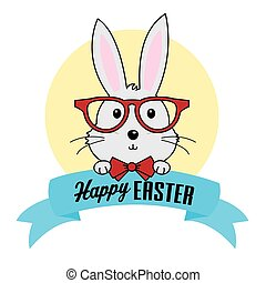 Happy Easter. Hipster rabbit