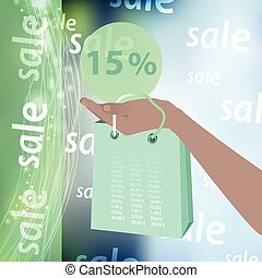Sale discounts are fifteen percent. Hand holding credit card...