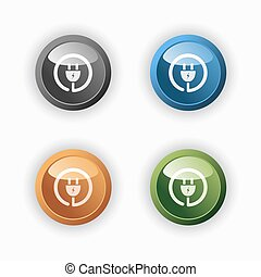 Plug icon on colored round buttons