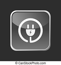 Plug icon on grey square button