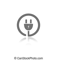 Plug icon with reflection on a white background