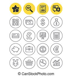 Money and business icon. Cash and cashless money. - Report,...