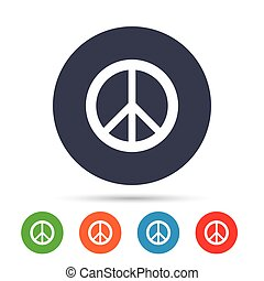 Peace sign icon. Hope symbol. Antiwar sign. Round colourful...