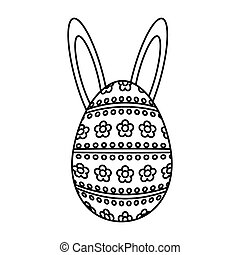 happy easter egg painted with ears rabbit